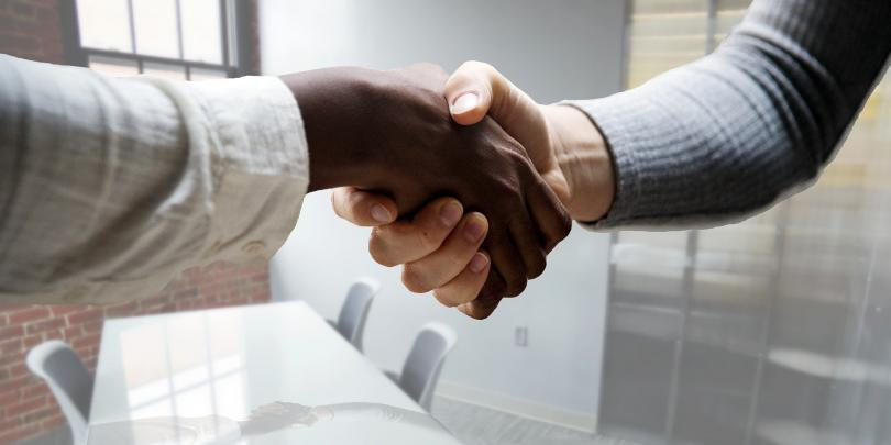 Stock photo of a job interview handshake