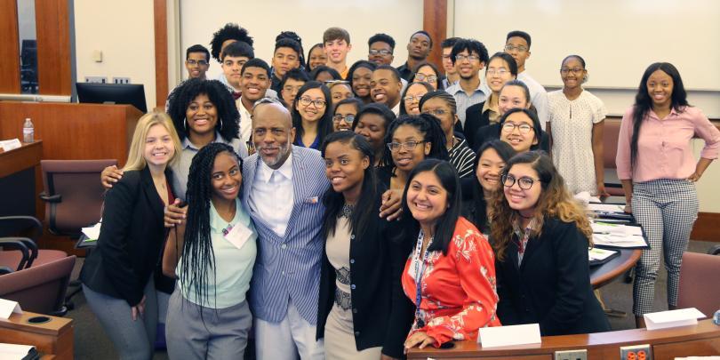 Douglas Burnett with students