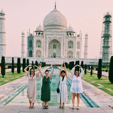 Photo of students in front of the Taj Mahal