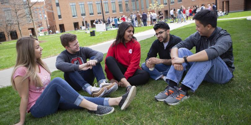 Fisher students in courtyard